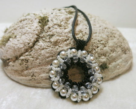 Image Necklace-Mandala-grey/black