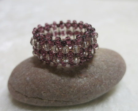 image of beaded ring dark rose-on stone