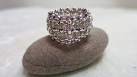 image of band ring rose-on stone