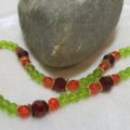 necklace with green red glass beads