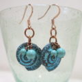 earring with blue Patina
