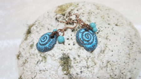 earring with blue Patina on stone