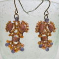 earring rose natural coloured hanging