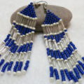 long earring in blue white frontside
