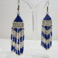 long earring in blue white hanging