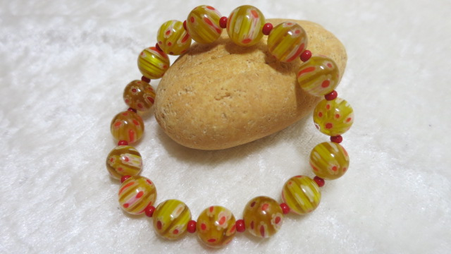 bracelet yellow red millefiori beads