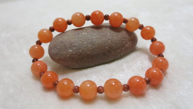 bracelet with salmon Jade front