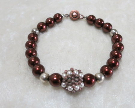 bracelet beaded brown pearls