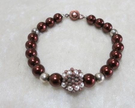 bracelet beaded brown pearls
