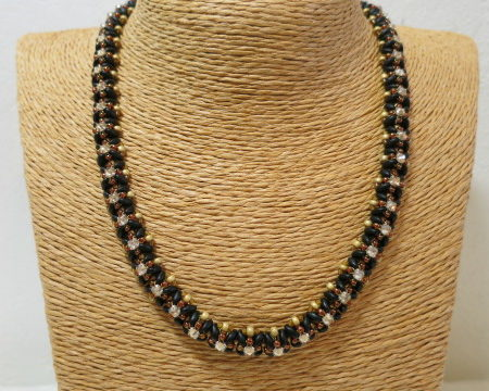 beaded necklace black brown on sisal bust