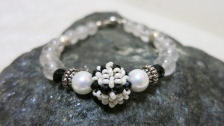 crystal bracelet on black stone