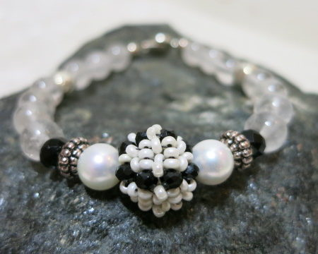 crystal bracelet on black stone