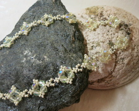 necklace with beaded elements in lime color