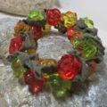 bracelet green red golden rose beads