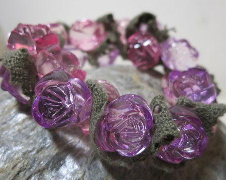 bracelet lila rose beads elastic on stone