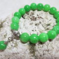 bracelet green Jade an silver beads total on shell