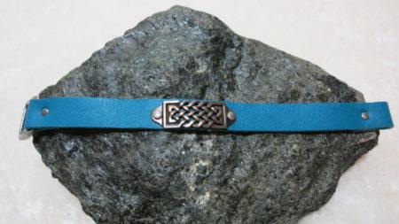 bracelet blue leather with ethno decoration