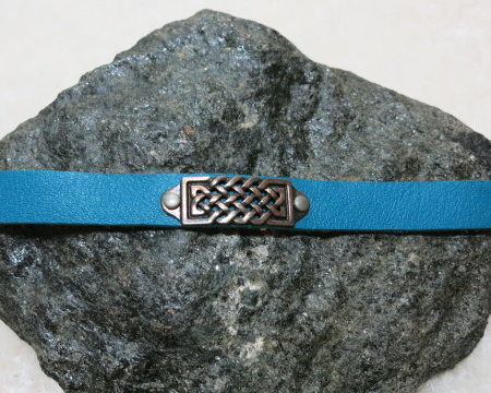 bracelet blue leather with ethno decoration