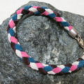 bracelet braided with coloured leather