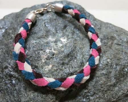 bracelet braided leather in pink cream brown blue