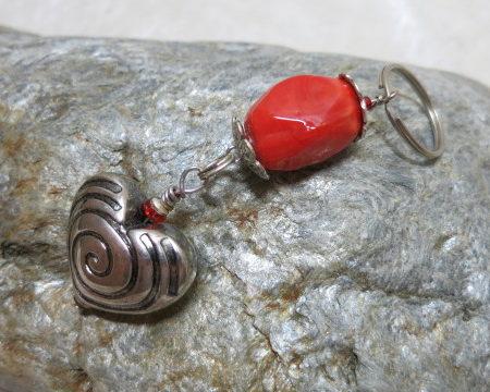 keyringpendant heart silver orange red bead on stone