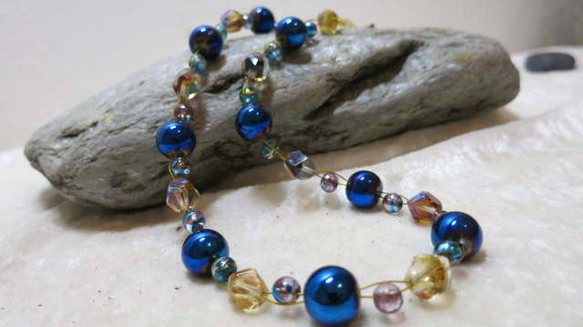 necklace blue golden shining two strands front