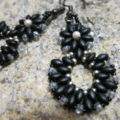 earring pendant matted black with crystal and silver in detail