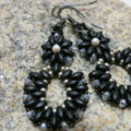 earring pendant matted black with crystal and silver