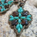 earpendant turquoise with copper brown two hole