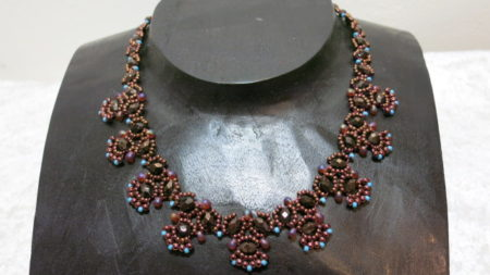 necklace collier copper with turquoise on wooden bust