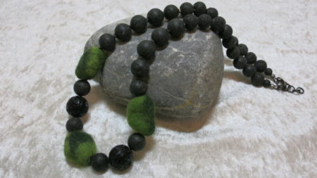 necklace lava green silverfoil with felted beads across stone
