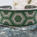 bracelet open bangle ethno pattern in green and silver colors detail
