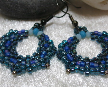 earring creole blue colors in detail