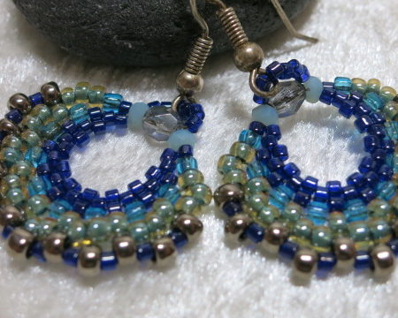 earring creole blue near view
