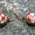 earring cloisonne red flower detailled view