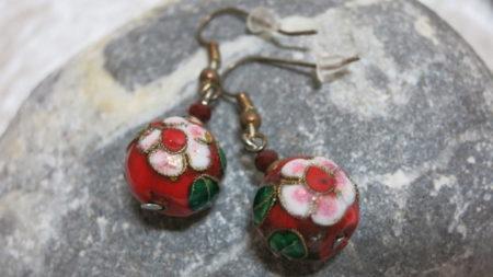 earring cloisonne red flower