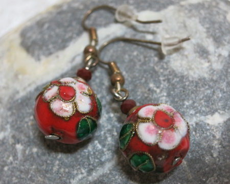 earring cloisonne red flower