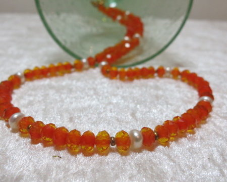 necklace faceted beads orange translucent copper freshwater pearl