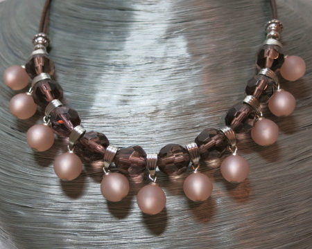 necklace statement old rose with rosy polaris beads on silvery bust