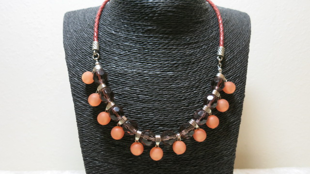 necklace statement salmon polaris faceted beads red bola leather on black bust