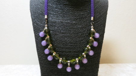 necklace statement green lila polaris beads on black basket bust