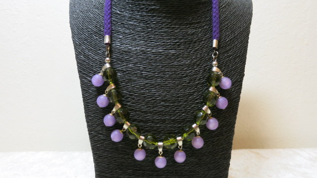 necklace statement green lila polaris beads on black basket bust