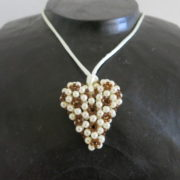 pendant heart creme brown colors threaded