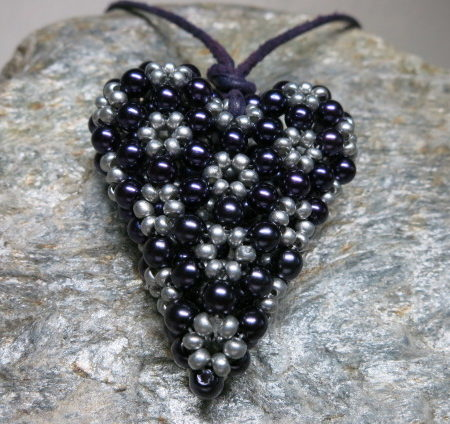 pendant heart purple grey colors threaded with leather tape front view