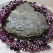 necklace collier abundant purple black colors on black stone