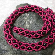 necklace collier abundant pink black color on black stone