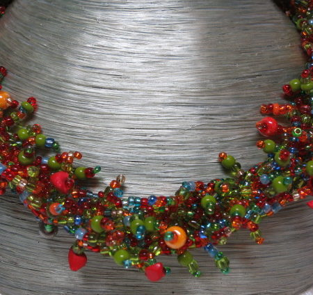 necklace collier colorful abundant fall autumn colors on bust